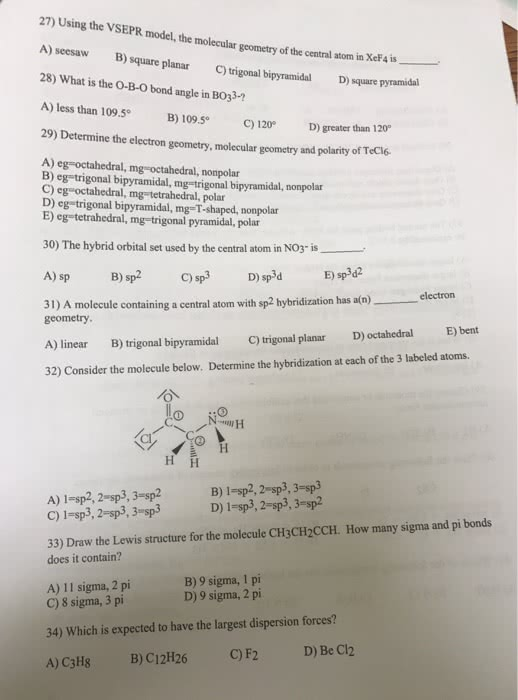 Oneclass Please Answer All 27 Using The Pr Model The Molecular Of The Central Atom In Xef4 Is A Se