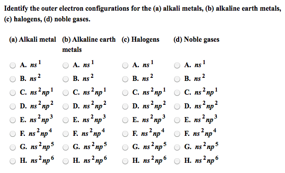 Oneclass Identify The Outer Electron Configurations For The A Alkali Metals B Alkaline Earth Me